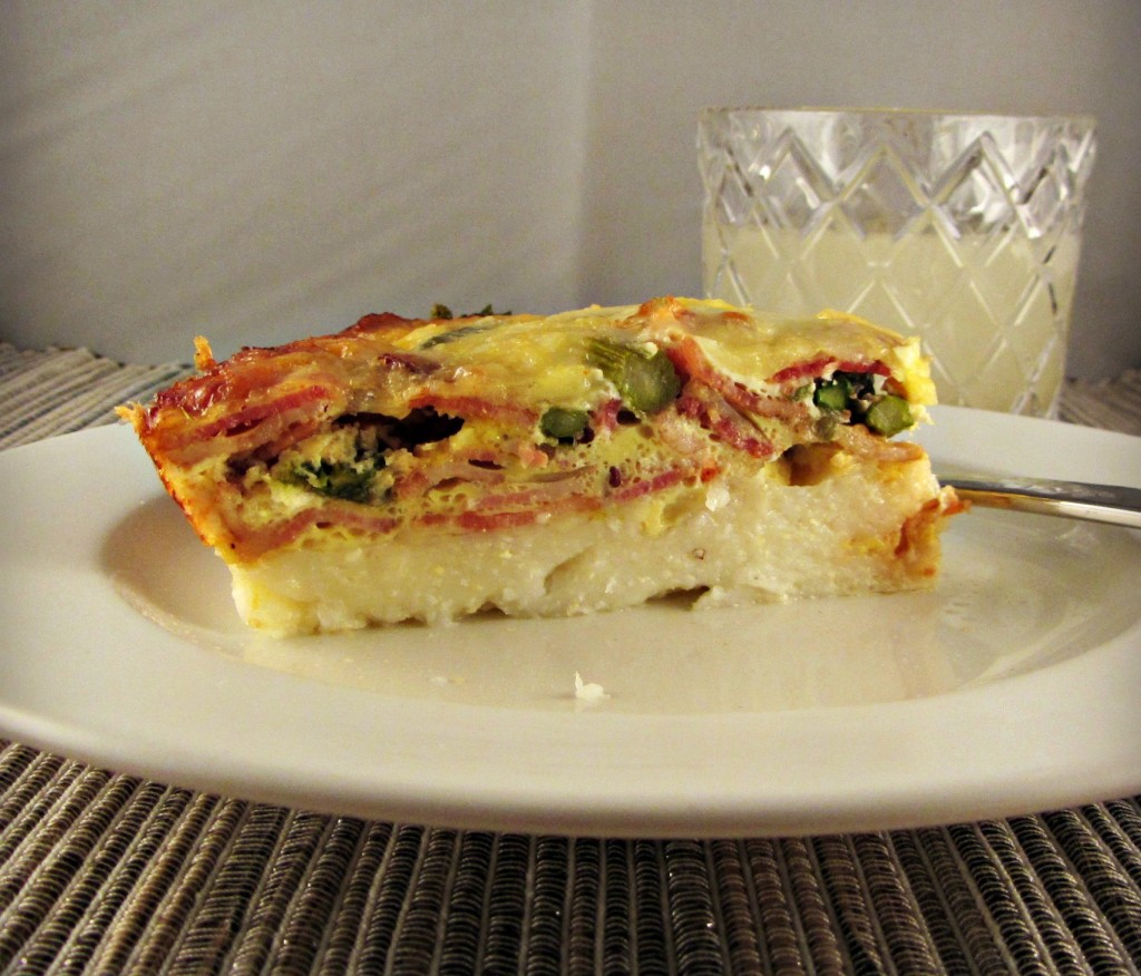 Cheesy Grits, Bacon, & Asparagus Frittata