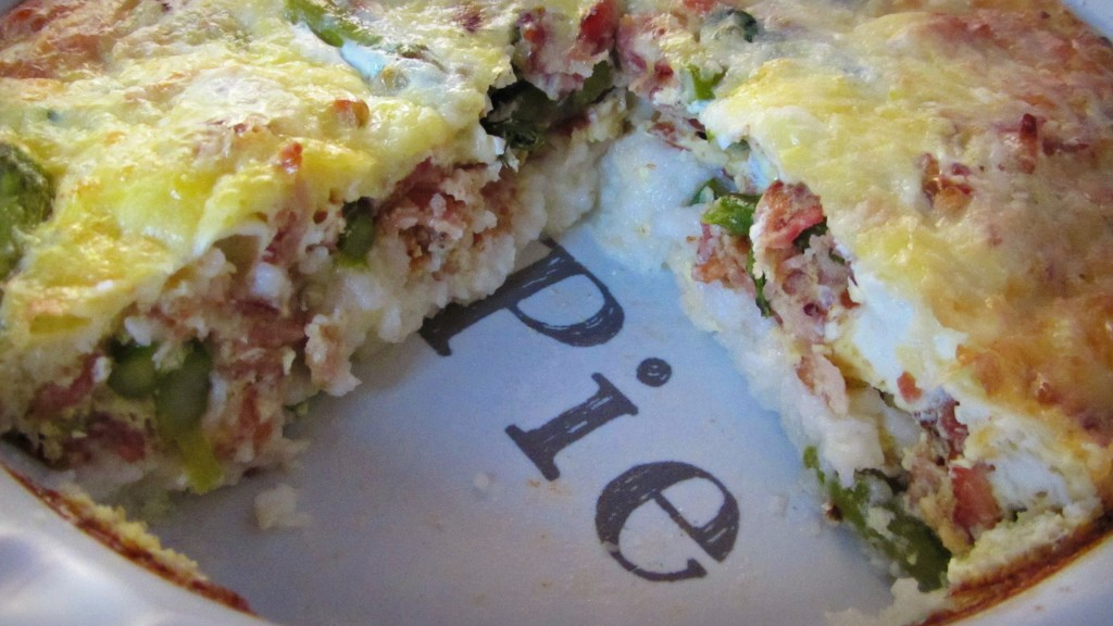 Cheesy Grits, Bacon, & Asparagus Frittata